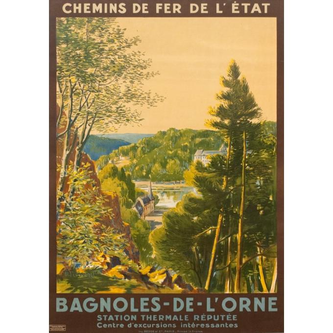 Affiche ancienne de voyage - M Perronnet - 1922 - Bagnoles de l'Orne - 106 par 74.5 cm