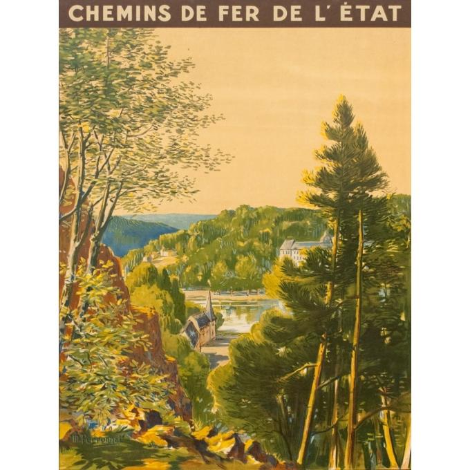 Affiche ancienne de voyage - M Perronnet - 1922 - Bagnoles de l'Orne - 106 par 74.5 cm - Vue 2