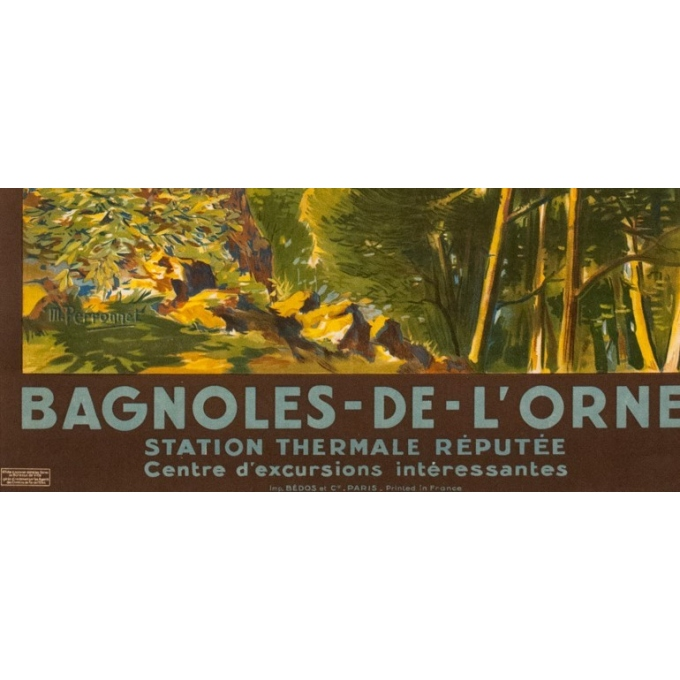 Affiche ancienne de voyage - M Perronnet - 1922 - Bagnoles de l'Orne - 106 par 74.5 cm - Vue 3