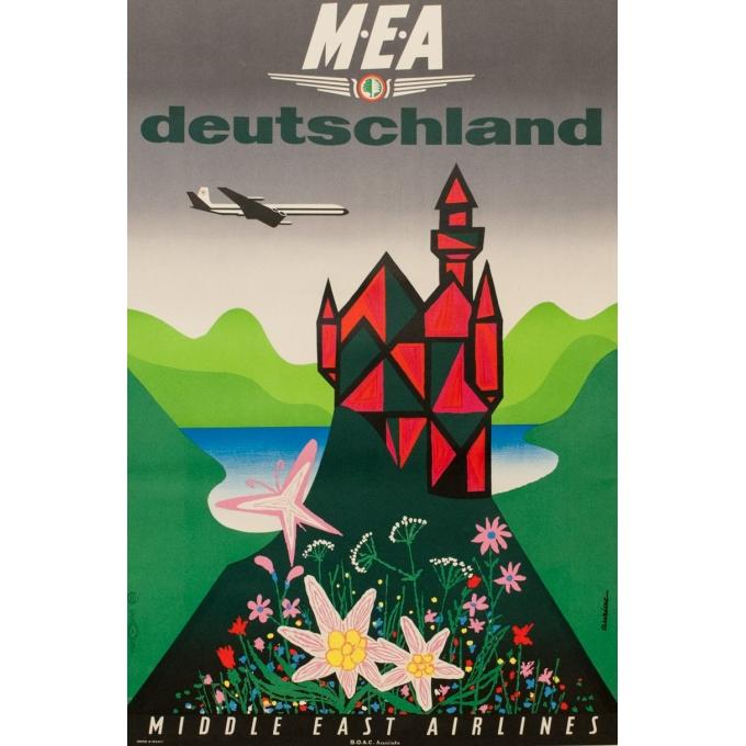 Affiche originale de voyage - MEA - Deutschland - Auriac - 1960 - 80 par 53 cm