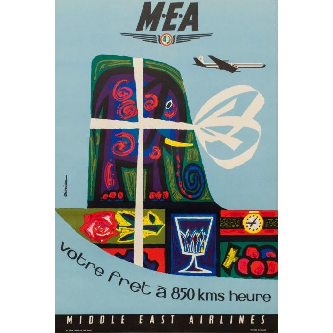 Affiche originale voyage air - Auriac - 1960 - MEA fret - 80 par 53.5 cm