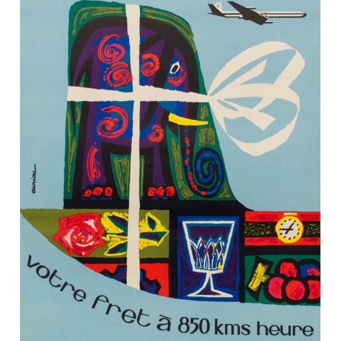 Affiche originale voyage air - Auriac - 1960 - MEA fret - 80 par 53.5 cm - vue 3