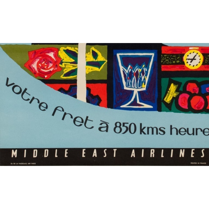 Affiche originale voyage air - Auriac - 1960 - MEA fret - 80 par 53.5 cm - vue 4