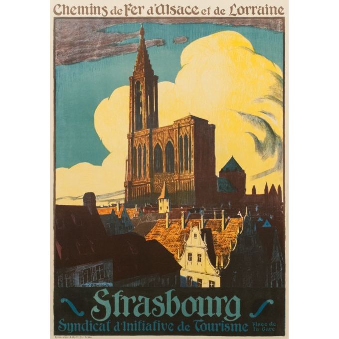 Vintage french travel poster - René Allenbach - 1910 - Strasbourg - 41.73 by 29.53 inches