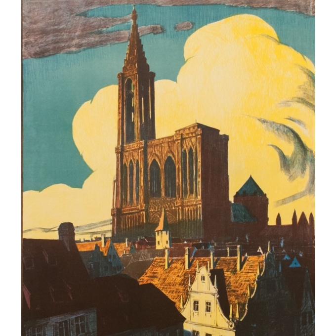 Vintage french travel poster - René Allenbach - 1910 - Strasbourg - 41.73 by 29.53 inches - Vue 3