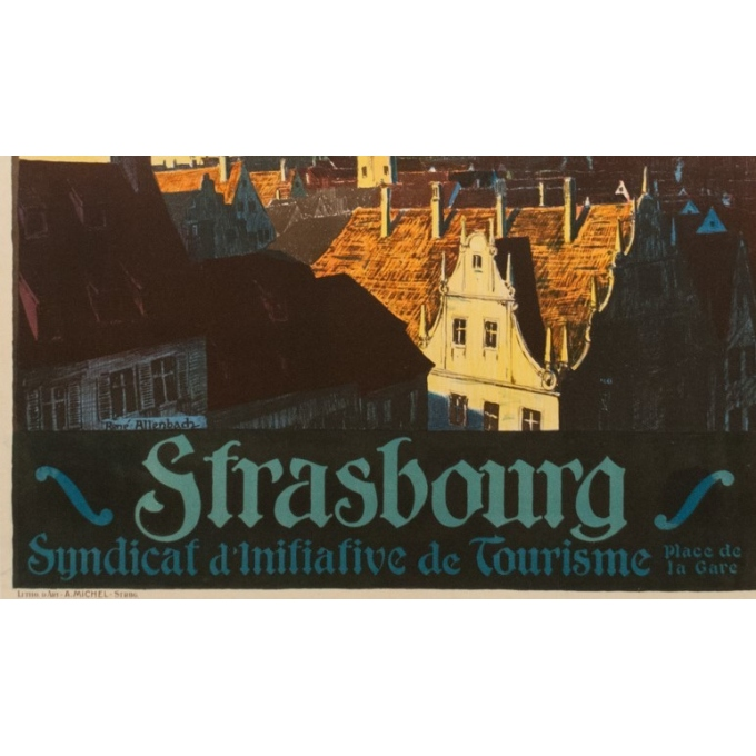Vintage french travel poster - René Allenbach - 1910 - Strasbourg - 41.73 by 29.53 inches - Vue 4