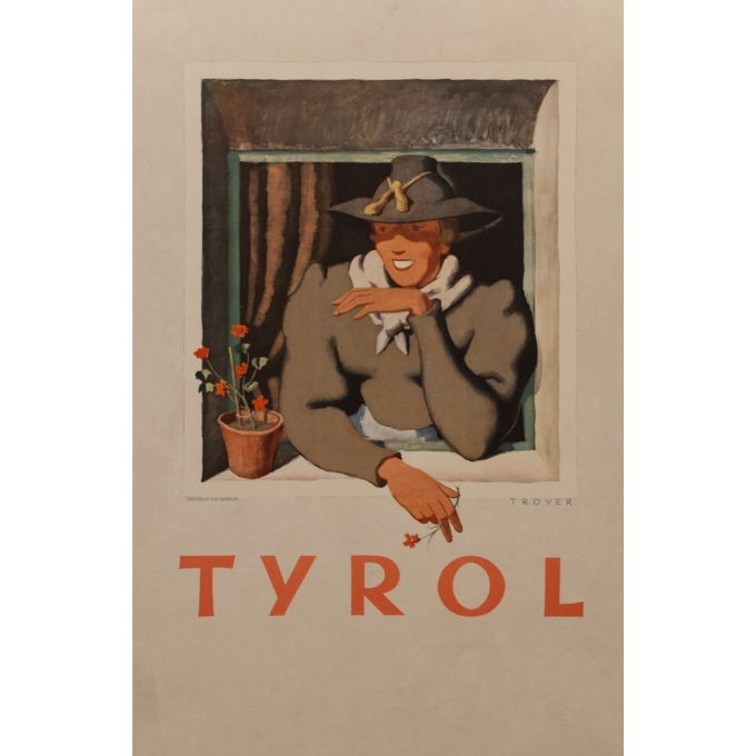 Vintage travel poster- Tyrol - Trouyer - 1935 - 37.40 by 24.41 inches
