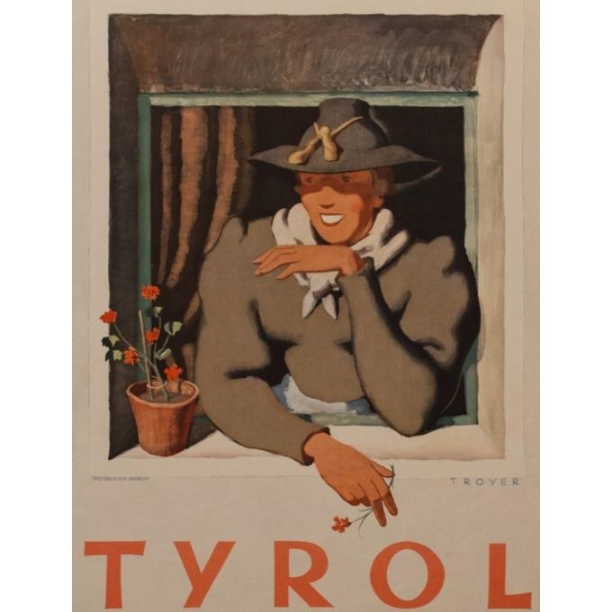 Affiche ancienne de voyage - Tyrol - Trouyer - 1935 - 95 par 62 cm - Vue 2