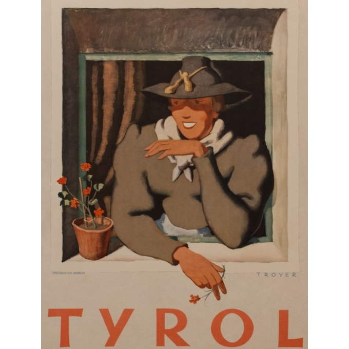 Vintage travel poster- Tyrol - Trouyer - 1935 - 37.40 by 24.41 inches - View 2