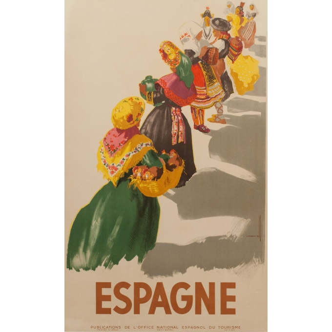 Vintage travel poster - Nuvall - Espagne - 1950 - 38.98 by 24.21 inches