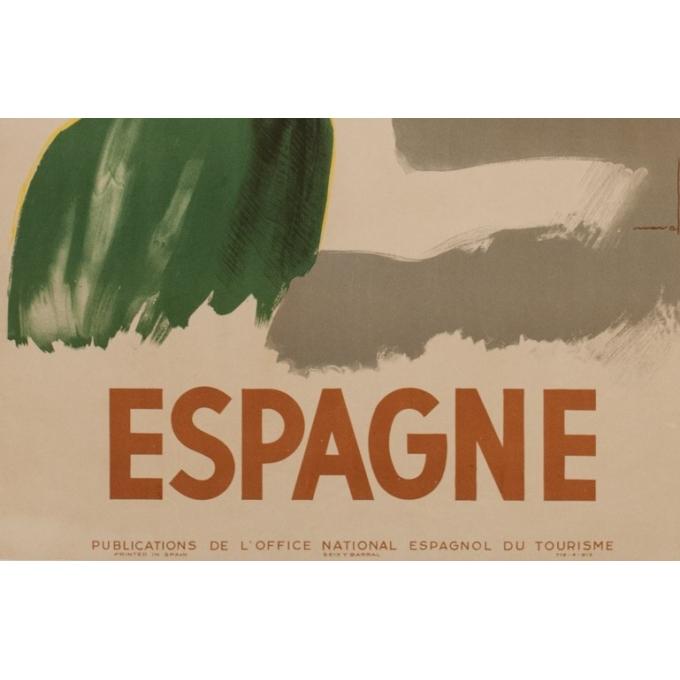 Affiche ancienne de voyage - Nuvall - Espagne - 1950 - 99 par 61.5 cm - Vue 3