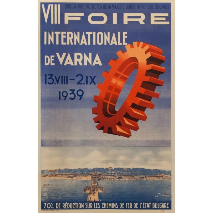 Affiche ancienne d'exposition - 8ème foire internationale de Varna - K.K. - 1939 - 100 par 63.5 cm