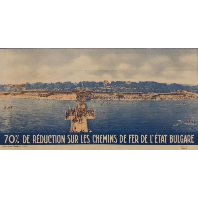 Affiche ancienne d'exposition - 8ème foire internationale de Varna - K.K. - 1939 - 100 par 63.5 cm - Vue 3