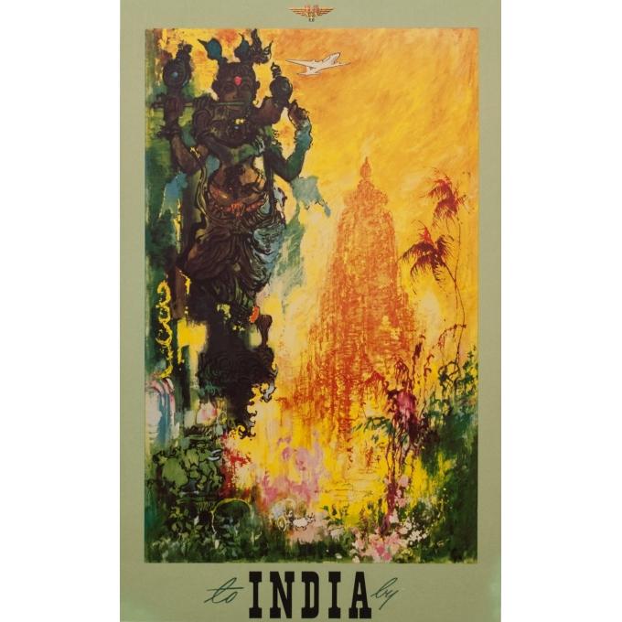 Affiche original voyage - India - Nielsen - 1965 - 97.5 par 60 cm