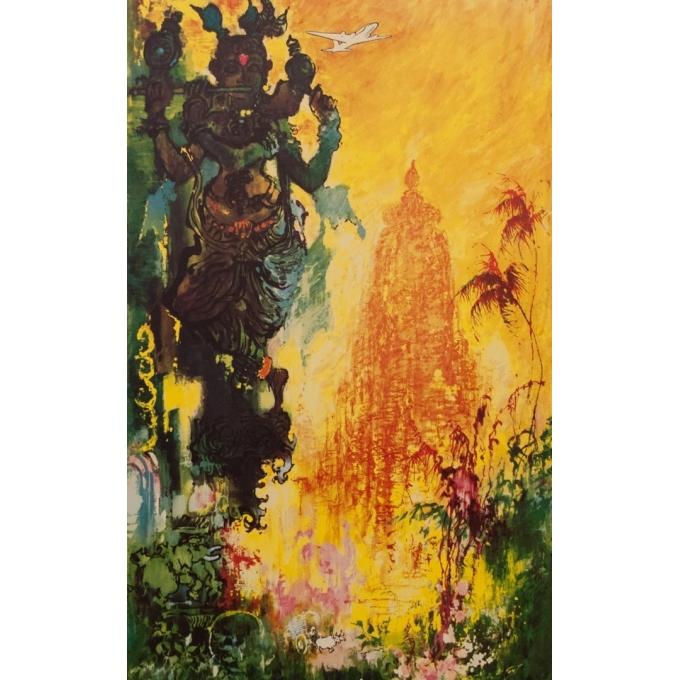 Affiche original voyage - India - Nielsen - 1965 - 97.5 par 60 cm - Vue 3