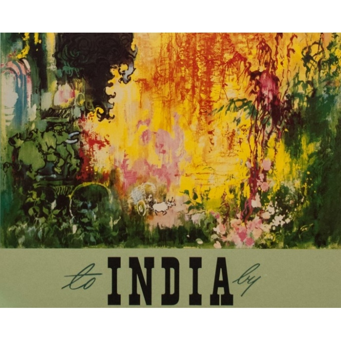 Vintage travel poster - India - Nielsen - 1965 - 38.39 by 23.62 inches - view 4