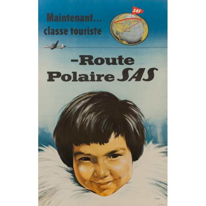 Vintage travel poster - Route Polaire - SAS - T. Mandel - 1955 - 39.37 by 24.80 inches