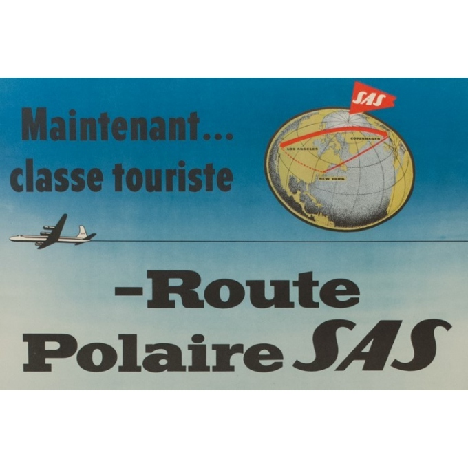 Vintage travel poster - Route Polaire - SAS - T. Mandel - 1955 - 39.37 by 24.80 inches - View 2