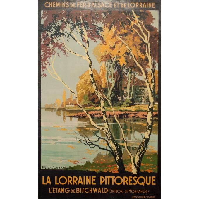 Affiche ancienne de voyage - Julien Lacaze - 1910 - La Lorraine Pitoresque - 99.5 par 62 cm