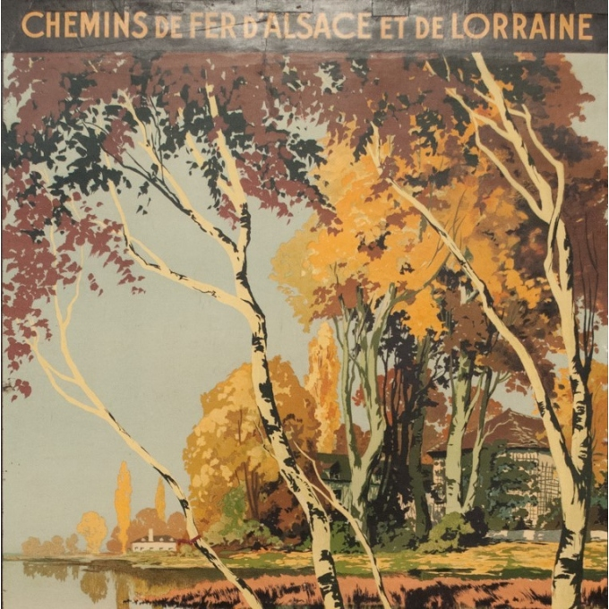 Affiche ancienne de voyage - Julien Lacaze - 1910 - La Lorraine Pitoresque - 99.5 par 62 cm - Vue 2