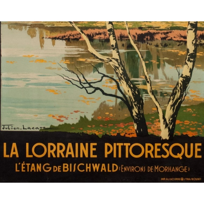 Affiche ancienne de voyage - Julien Lacaze - 1910 - La Lorraine Pitoresque - 99.5 par 62 cm - Vue 3