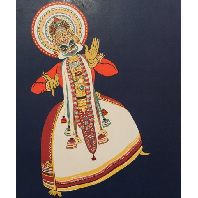 Affiche originale de voyage Kathakali India - 1958 - 101 par 63 cm - Vue 2