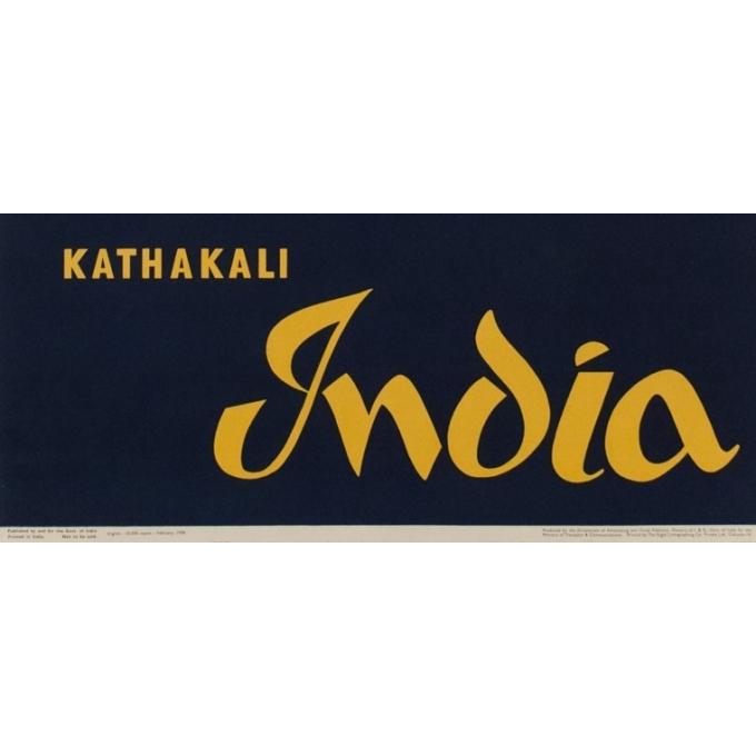 Affiche originale de voyage Kathakali India - 1958 - 101 par 63 cm - Vue 3