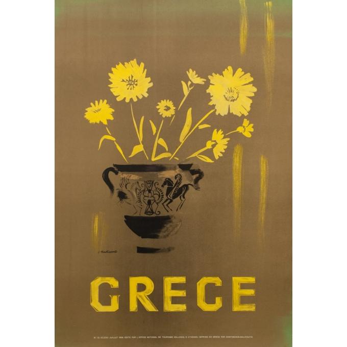 Original travel poster - Grece - L. Montessanto - 39.76 by 27.17 inches