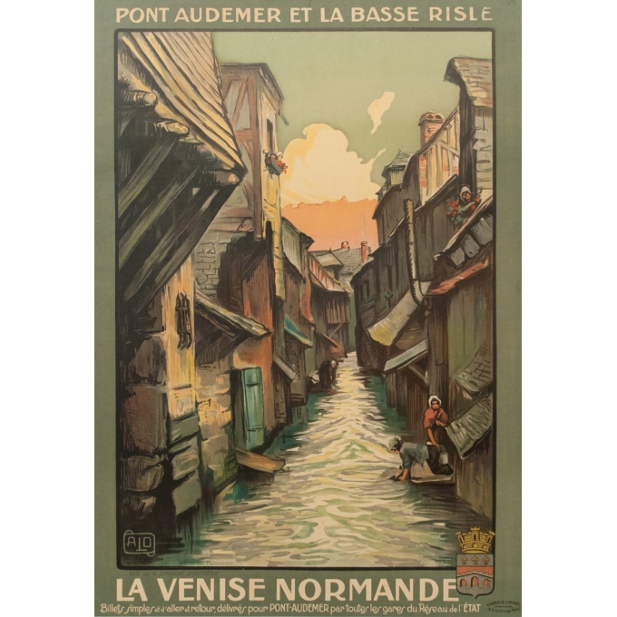 Vintage travel poster - Charles Hallaut - La Venise Normande France - 41.73 by 29.13 inches