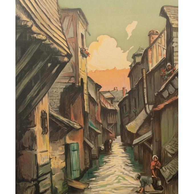 Affiche ancienne de voyage - Charles Hallaut - La Venise Normande - 106 par 74 cm - Vue 3