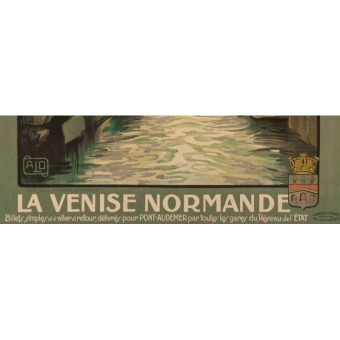 Affiche ancienne de voyage - Charles Hallaut - La Venise Normande - 106 par 74 cm - Vue 4