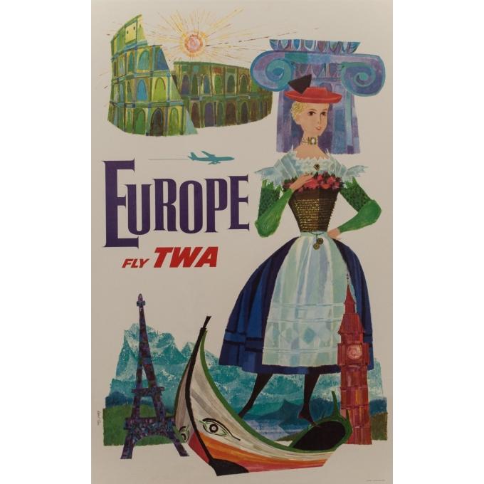 Affiche originale - TWA - D. Klein - 1970 - Europe - 101 par 64 cm