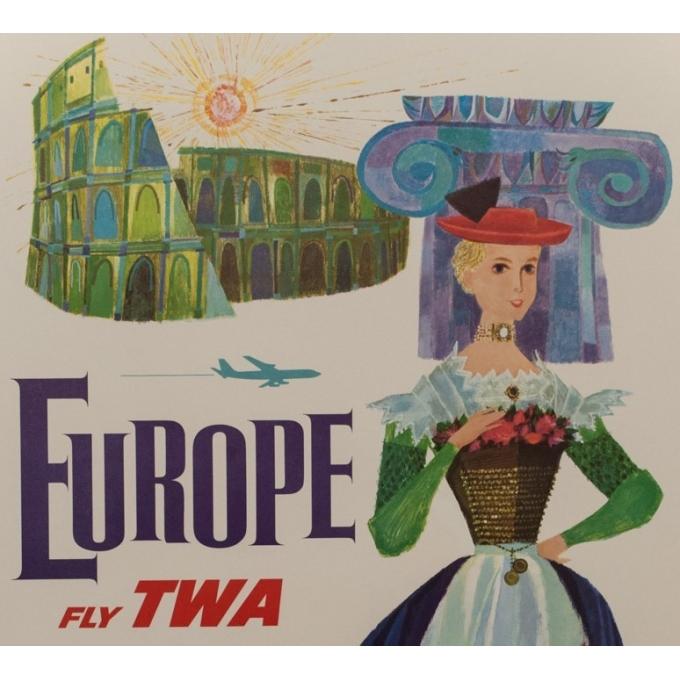 Affiche originale - TWA - D. Klein - 1970 - Europe - 101 par 64 cm - vue 2