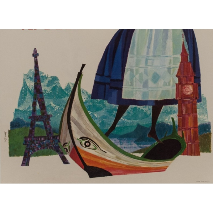 Original travel poster - TWA - D. Klein - 1970 - Europe - 39.76 by 25.20 inches - View 3