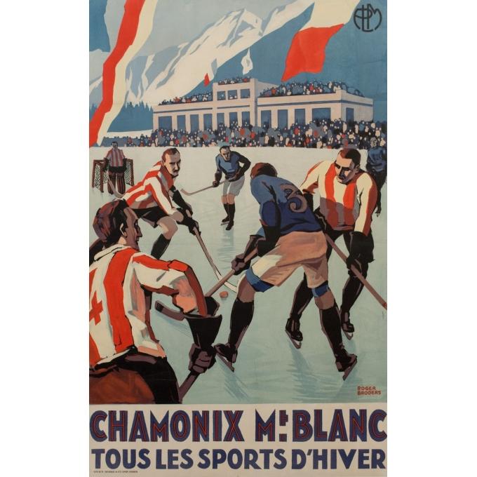 Affiche ancienne Chamonix Mt Blanc sports d'hiver - Championnat du monde de hockey - Roger Broders 1930 - 101 par 63 cm