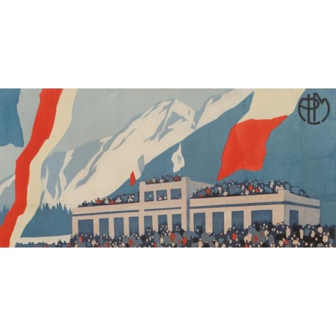 Affiche ancienne Chamonix Mt Blanc sports d'hiver - Championnat du monde de hockey - Roger Broders 1930 - 100 par 63 cm - vue 5