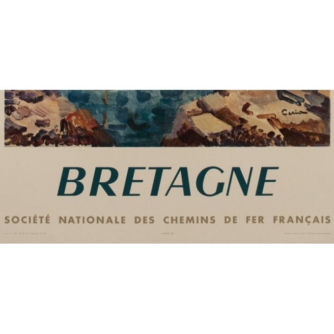 Affiche ancienne SNCF - Bretagne - Ceria - 1957 - 100 par 62 cm - Vue 3