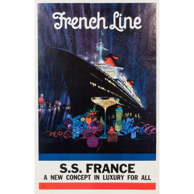 Vintage travel poster - B Peak - 1960 - French Line - 46.06 by 29.72 inches