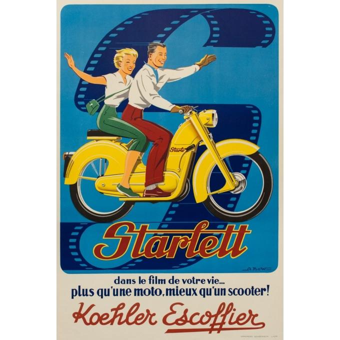 Affiche ancienne de publicité - A.Kow - 1950 - Starlett - 120 par 80 cm