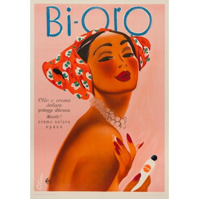 Affiche ancienne publicitaire de Glaser 1960 - Crème solaire Bi-oro