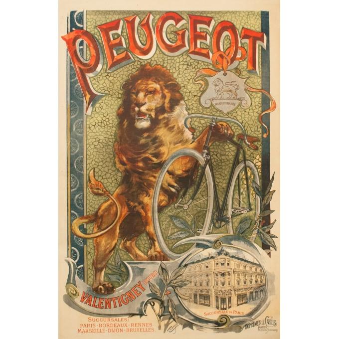 Affiche ancienne de publicité pour Peugeot - Tamagno - 1900 - 138.5 par 89 cm