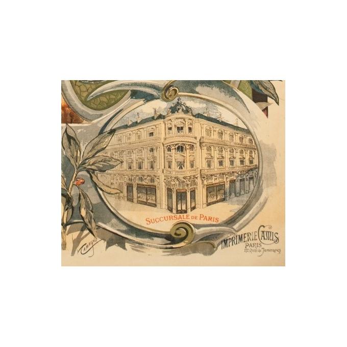 Affiche ancienne de publicité pour Peugeot - Tamagno - 1900 - 138.5 par 89 cm - Vue 2