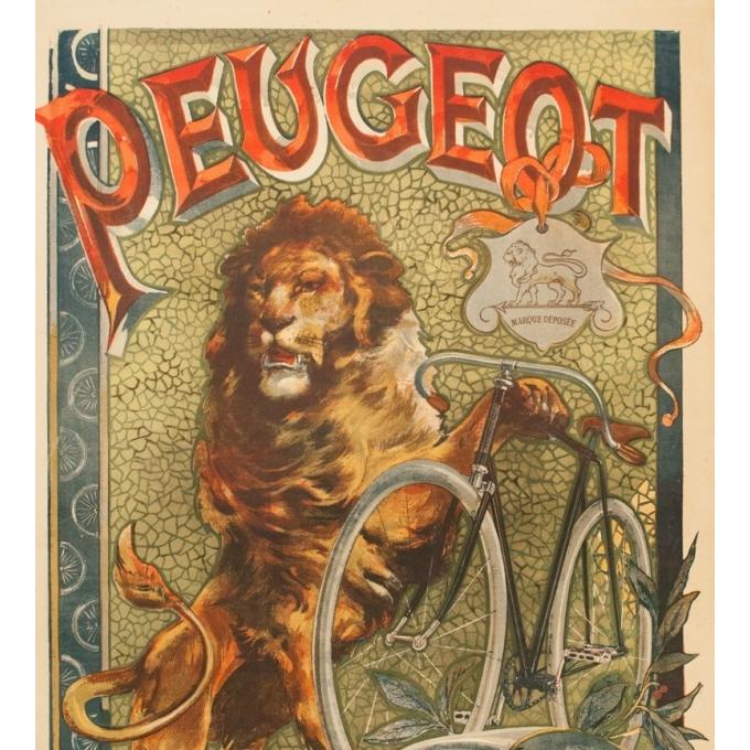 Affiche ancienne de publicité pour Peugeot - Tamagno - 1900 - 138.5 par 89 cm - Vue 3