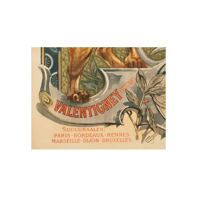 Affiche ancienne de publicité pour Peugeot - Tamagno - 1900 - 138.5 par 89 cm - Vue 4
