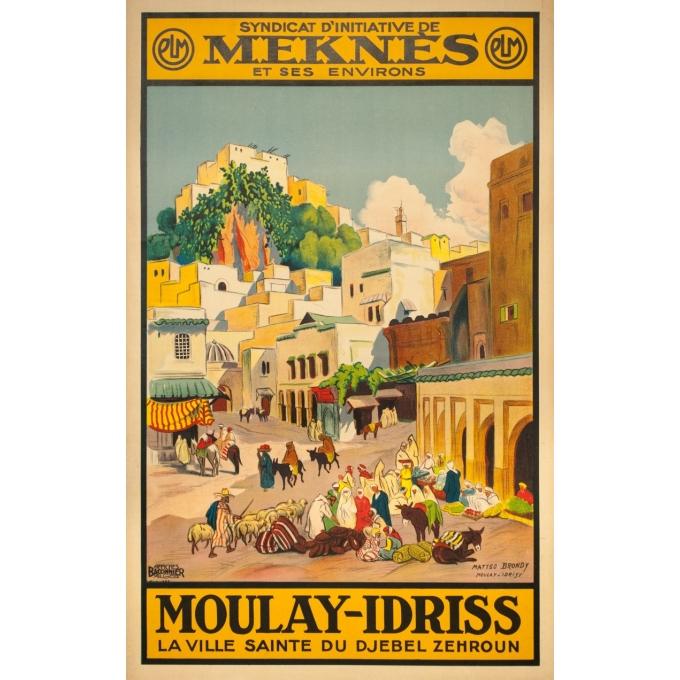 Affiche ancienne voyage - Matteo Brondy - Maroc Moulay Idriss - 1932 - 103 par 65