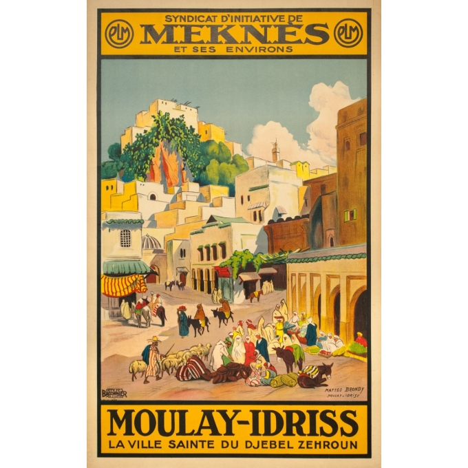 Vintage travel poster - Matteo Brondy - Maroc Moulay Idriss - 1932 - 40.55 by 25.59 inches