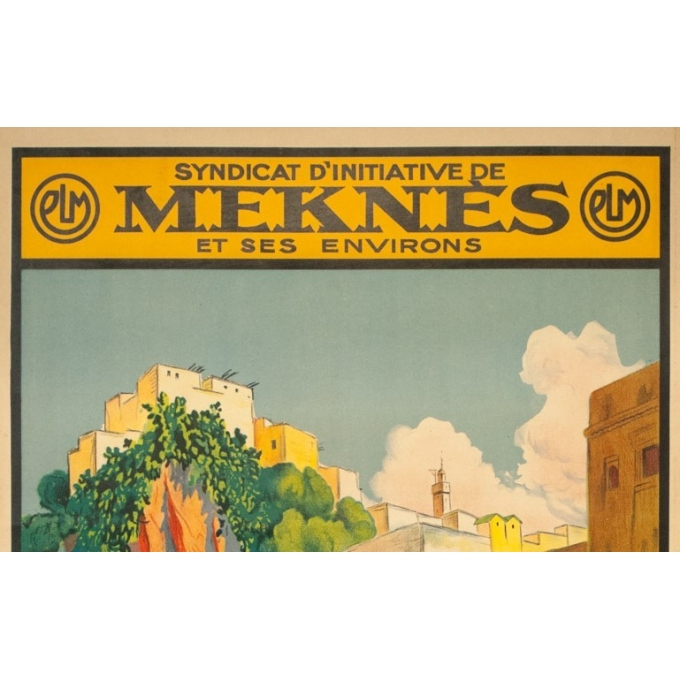Vintage travel poster - Matteo Brondy - Maroc Moulay Idriss - 1932 - 40.55 by 25.59 inches - view 2
