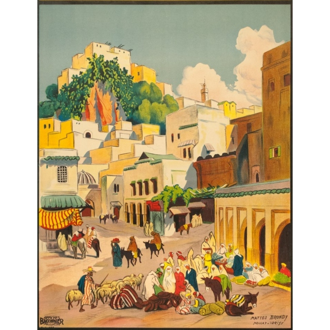 Vintage travel poster - Matteo Brondy - Maroc Moulay Idriss - 1932 - 40.55 by 25.59 inches - view 3