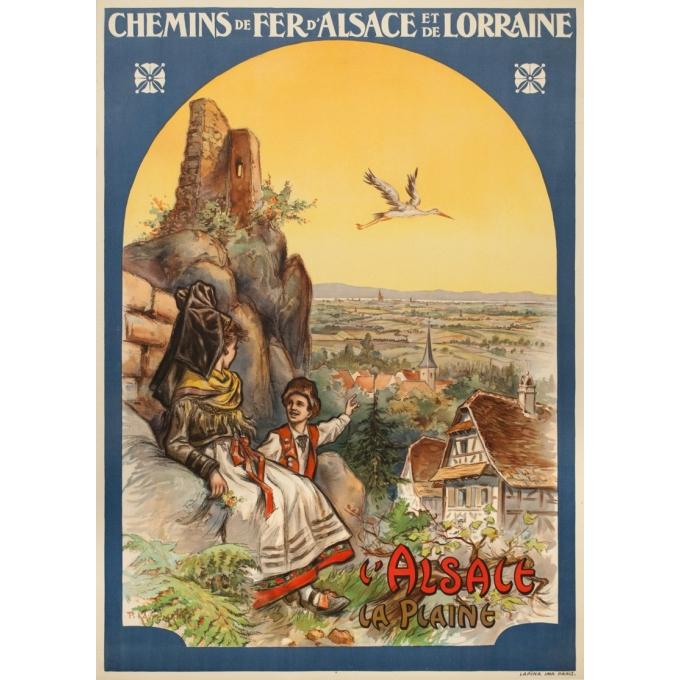 Affiche ancienne voyage - Koaufemann - 1920 - l'Alsace La Plaine - 103.5 par 75 cm