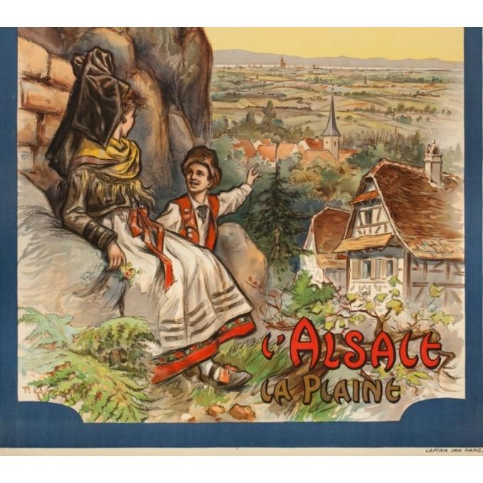 Affiche ancienne voyage - Koaufemann - 1920 - l'Alsace La Plaine - 103.5 par 75 cm - Vue 3